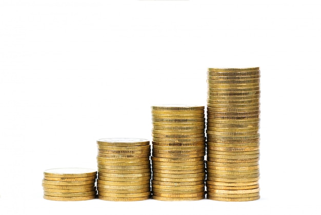 Savings, increasing columns of gold coins, piles of gold coins arranged as a graph on white background