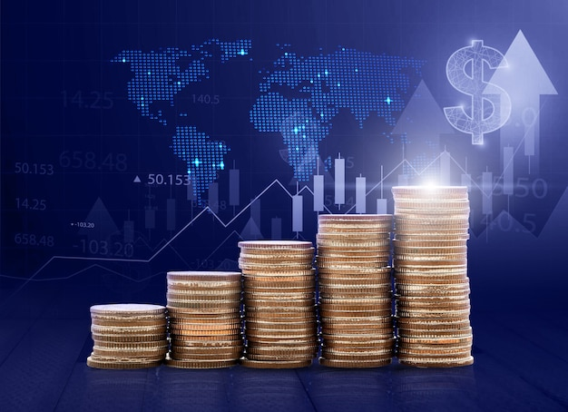 貯蓄お金の成長技術の概念コインビジネスファイナンスの概念