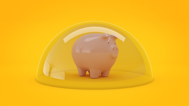 Savings protection concept 3d rendering