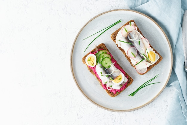 Острый сморреброд, два традиционных датских бутерброда. черный ржаной хлеб с анчоусами, свеклой, редькой, яйцами, сливочным сыром на серой тарелке на белом каменном столе