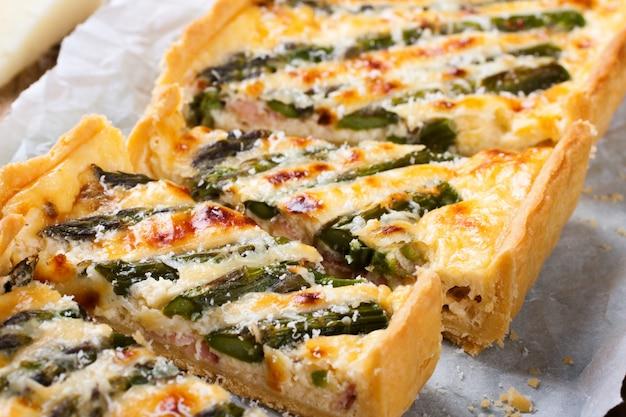 Savory tart with pecorino and bacon