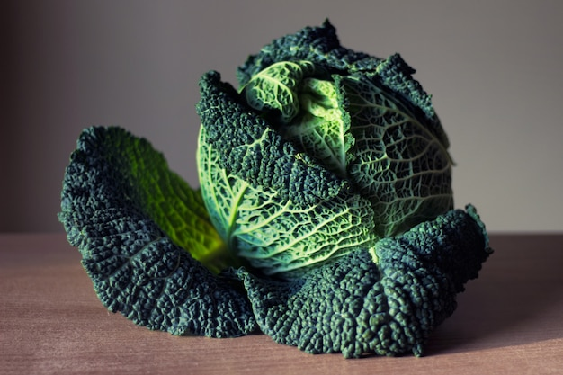 Savoy cabbage laying on table. one big head of savoy cabbage with curly leafs.