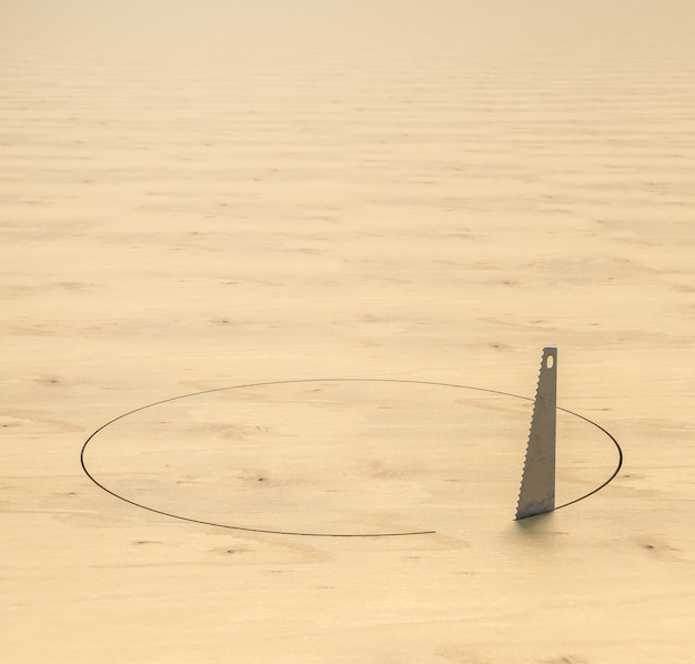 のこぎりは木の床に円形の穴を開けます。 3dレンダリング。