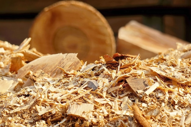 Sawdust with logs background
