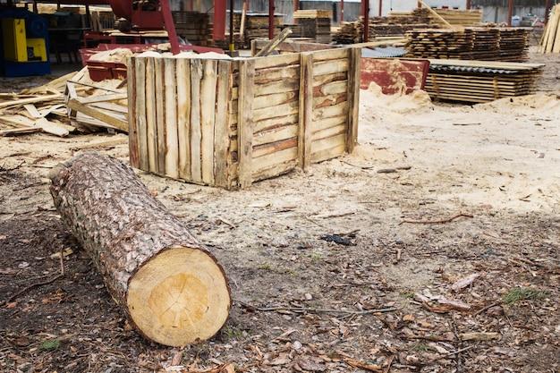 製材所、木材加工、木材乾燥、木材収穫、乾燥ボード、バーク