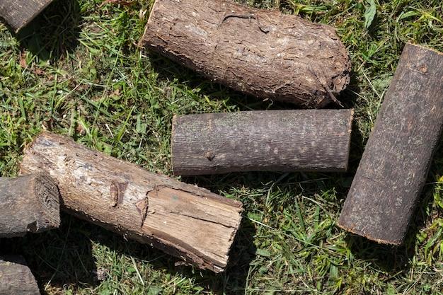 Распиленный на бревно большой ствол дерева, лежит на траве
