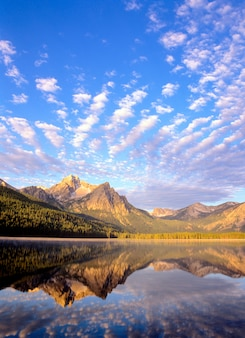 Sawtooth mountains reflected in stanley lake