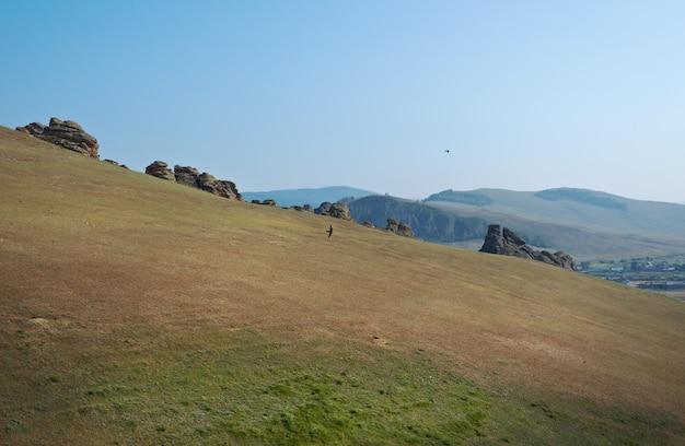 Saxon 성 - suvo 마을 barguzin 계곡, buryatia, 러시아의 바위,