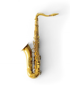 Saxophone on color background