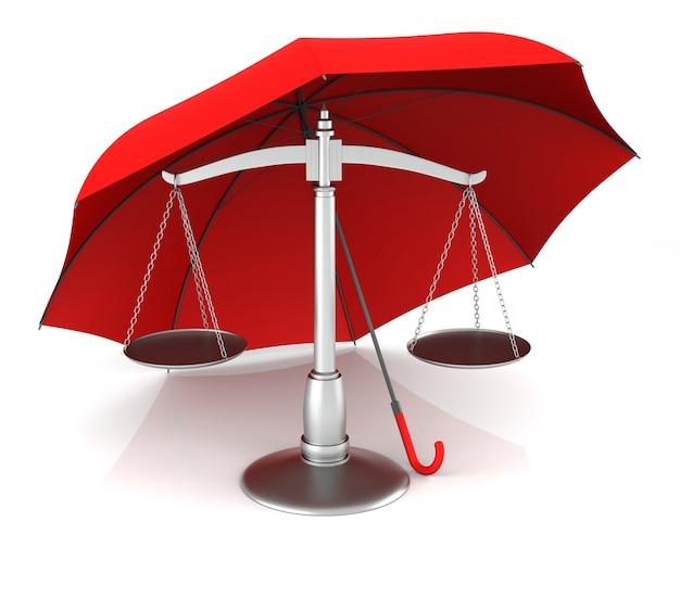 Весы и красный зонтик. 3d-рендеринг.