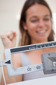 Scale showing dieting success