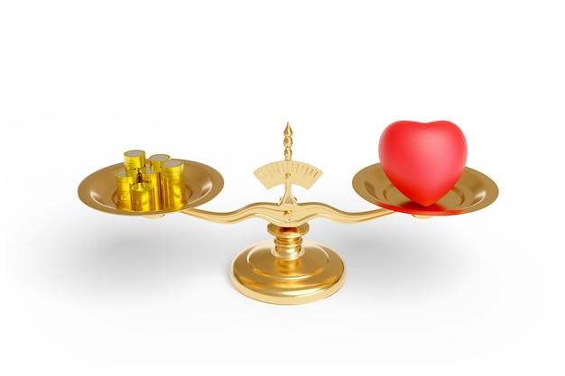 Масштаб с сердцем и монетами, изолированные на белой поверхности. любовь против концепции денег.