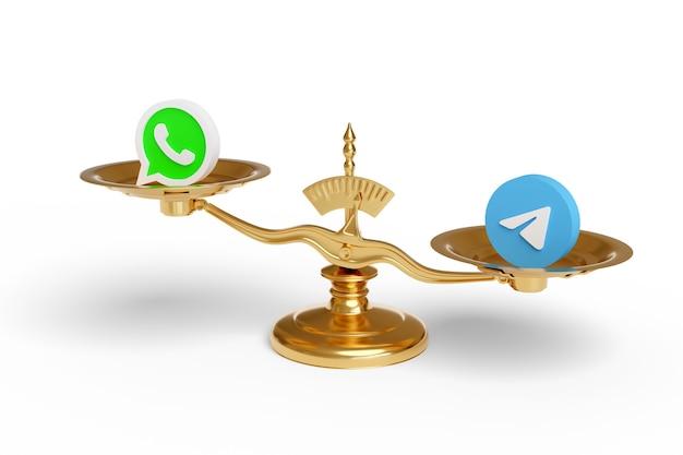 Масштабируйте с логотипом whatsapp и telegram, изолированным на белой поверхности.