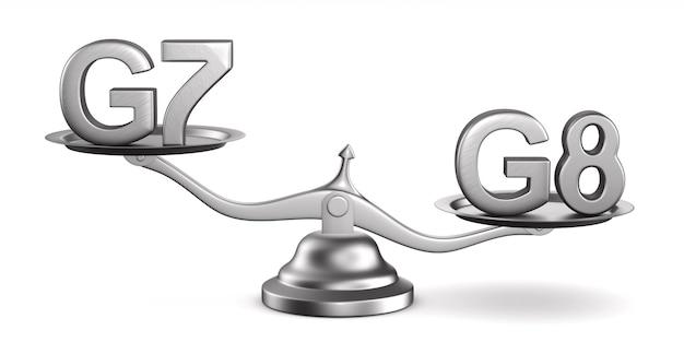 Весы и знак g7, g8 на белом пространстве