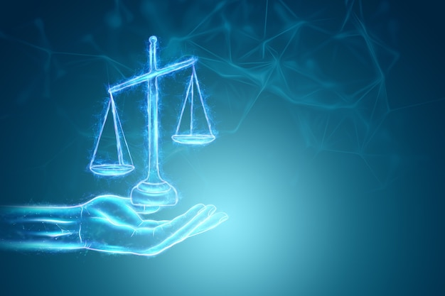 Голограмма весов правосудия на синем фоне. понятие приговора, суд, судебная власть. 3d визуализация, 3d иллюстрации.