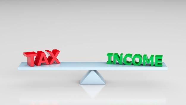 회색 배경에 tax 및 income이라는 단어가 있는 척도입니다. 3d 렌더링입니다.