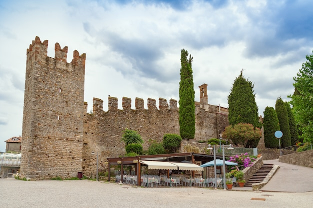 Scaliger castle is historical landmark of the city sirmione in italy on the lake garda.