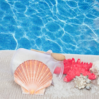 Раковина морского гребешка с морской спа-обстановкой на фоне голубой воды