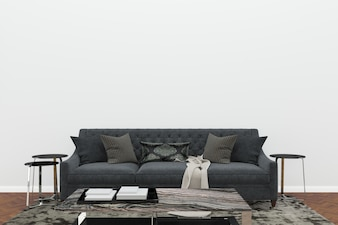 Scandinavia living room black sofa white wall dark brown floor background template