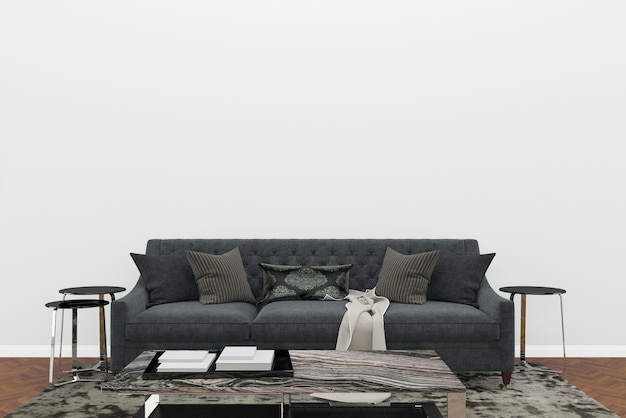 Scandinavia living room black sofa white wall dark brown floor background template