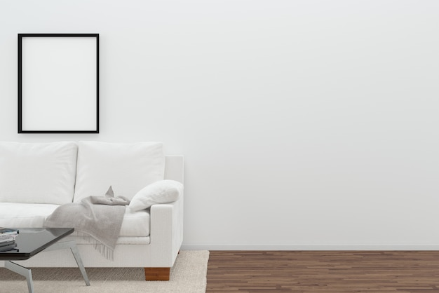 Scandinavia living room white sofa wall dark brown floor background template photo frame