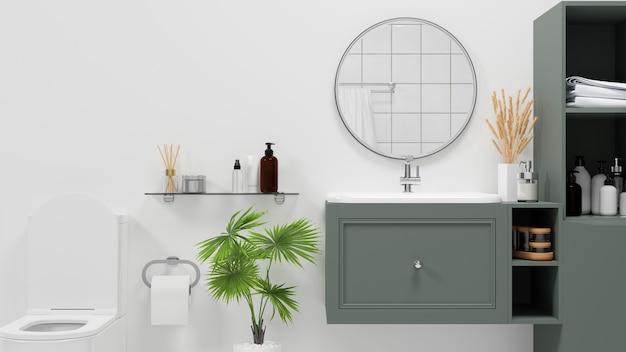 흰색 벽 위에 현대적인 녹색 캐비닛과 선반이 있는 스칸디나비아 욕실 인테리어 스타일