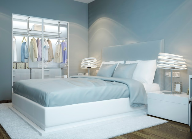 Scandinavian bedroom design in light blue colored with wardrobe