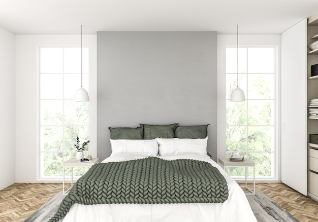 Scandinavian bedroom with blank wall