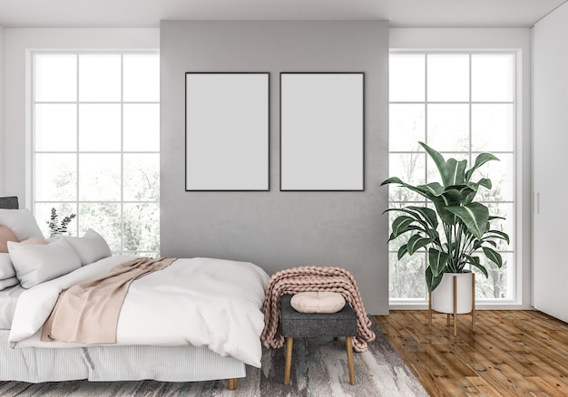 Scandinavian bedroom with empty double frames