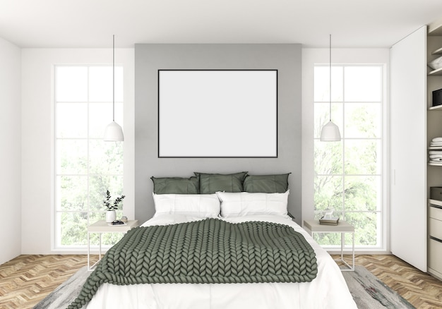 Scandinavian bedroom with empty horizontal frame