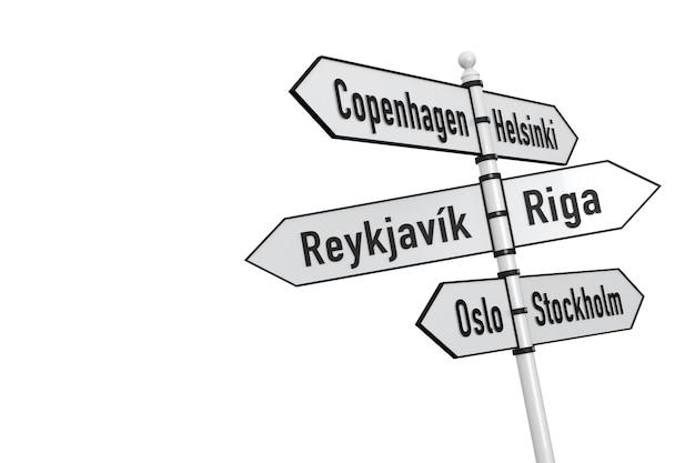 스칸디나비아 국가 수도 기호-흰색 배경에 고립.