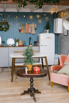 Scandinavian cuisine in gray and blue tones, decorated for christmas and new year