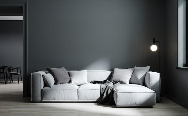 Scandinavian dark living room interior background, wall mockup, 3d render