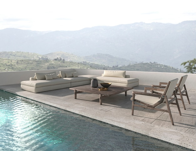 Скандинавский дизайн дома открытая терраса с бассейном 3d визуализации иллюстрации