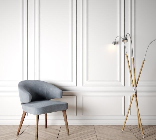 Scandinavian design interior, wooden floor lamp with blue armchair in white wall.