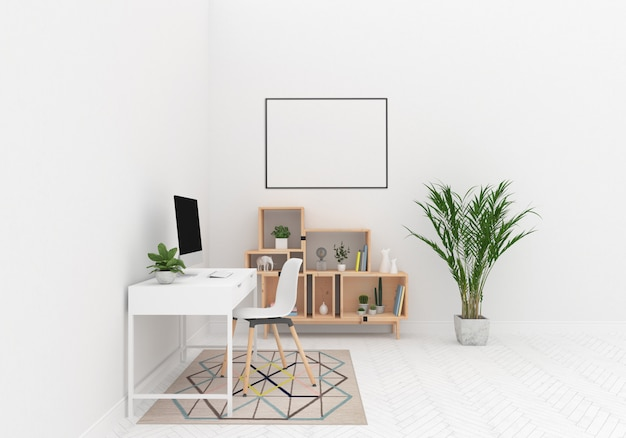 Scandinavian desk area with horizontal frame