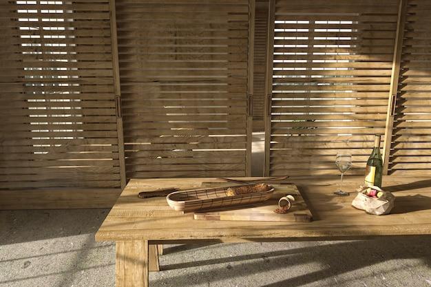 Бежевая деревянная кухня в скандинавском фермерском стиле. обеденный стол с едой. 3d визуализация иллюстрации.
