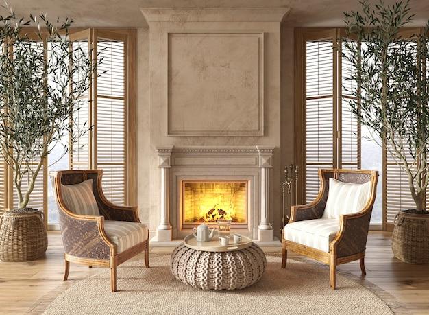 Интерьер гостиной в скандинавском фермерском стиле с камином и большими окнами 3d иллюстрация