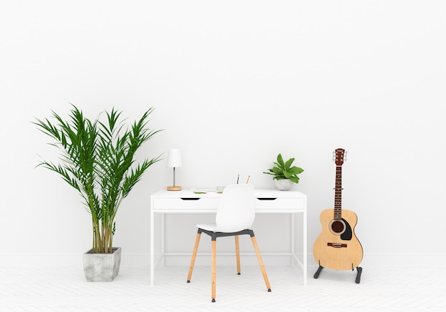 Scandinavian home workspace with blank wall