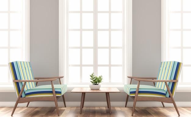 スカンジナビアの家のリビングルームの3dレンダリングは、木とカラフルなファブリックのシートを備えています