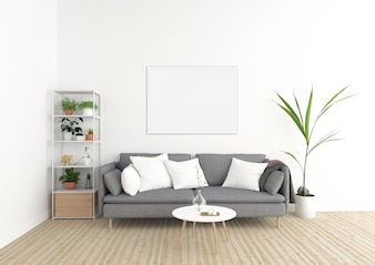 Scandinavian interior - horizontal frame - art background