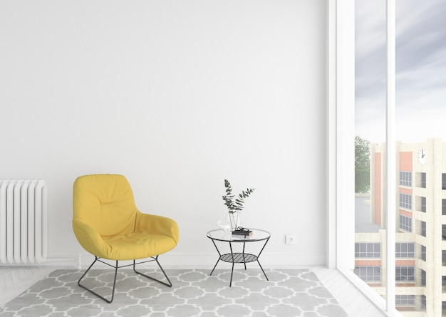 Scandinavian interior waiting room with empty blank photo frame or artwork frame
