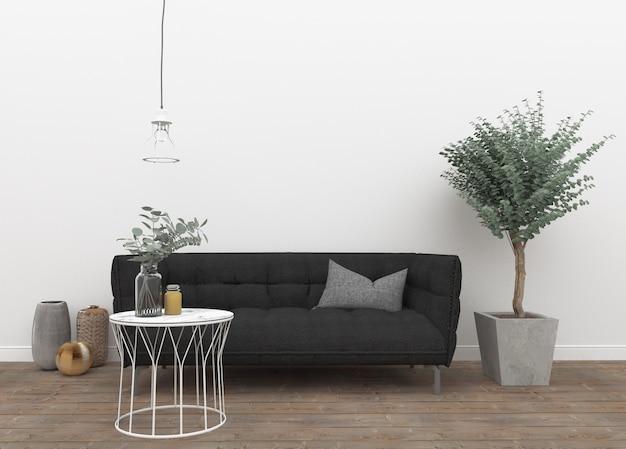 Скандинавский интерьер с диваном