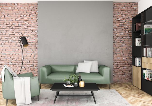 Scandinavian interior with blank wall.