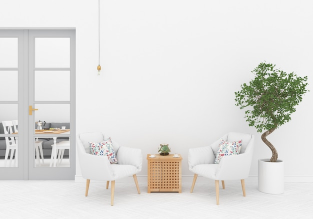 Scandinavian interior with blank wall