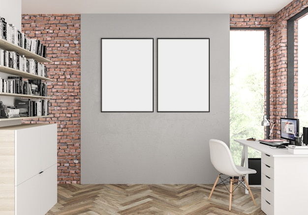 Scandinavian interior with empty double blank photo frame or artwork frame