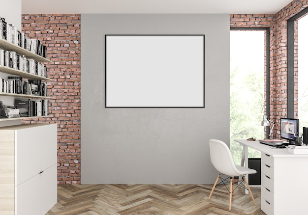Scandinavian interior with empty horizontal blank photo frame or artwork frame