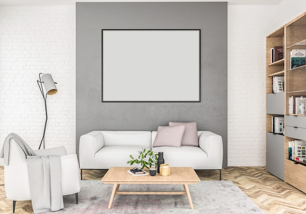 Scandinavian interior with empty horizontal frame.