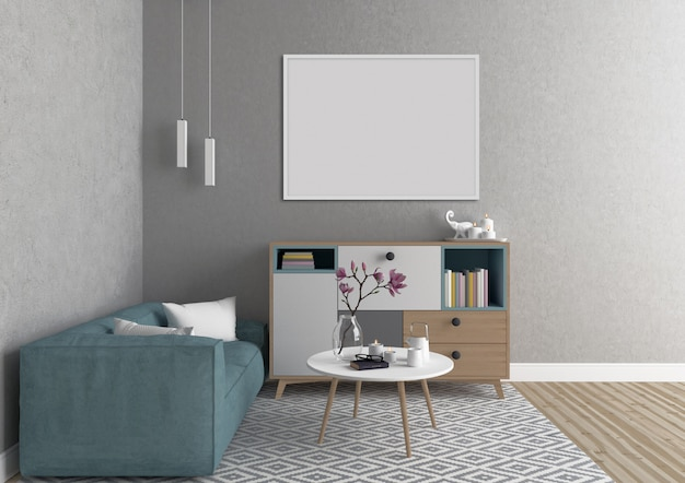 Scandinavian interior with white horizontal frame