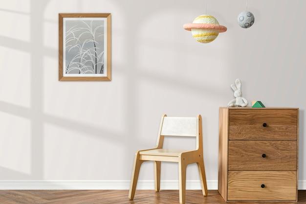 Scandinavian kids play room with wooden furniture